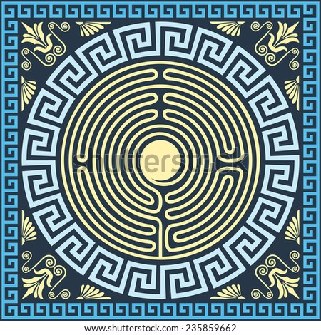Vector set Traditional vintage golden and blue square and round Greek ornament (Meander), labyrinth and floral pattern  - stock vector