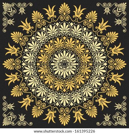 Vector set Traditional vintage golden floral Greek ornament on a black background - stock vector