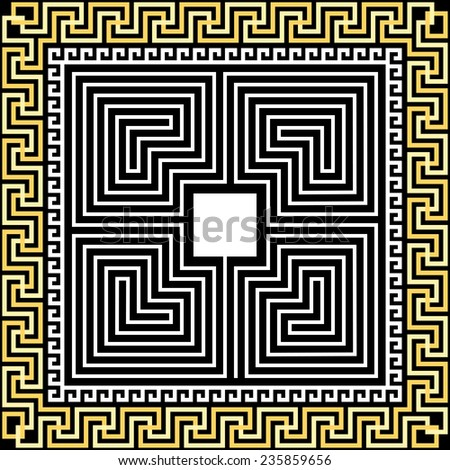 Vector set Traditional vintage square gold Greek ornament (Meander) and labyrinth on a black background - stock vector