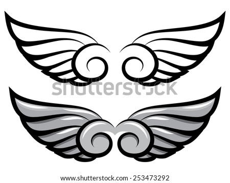 vector set. two pairs of wings. Black and colored - stock vector