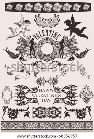 Vector set. Valentine's Design Elements. Elements For Page Decoration - stock vector