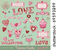 vector set: Valentine's doodles - lots of cute design elements - stock photo