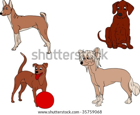 vector - set various funny dogs - stock vector