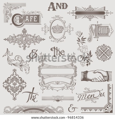 Vector Set: Various Retro Design Elements - High Quality - stock vector