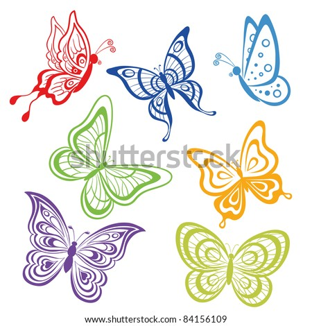 Vector, set various symbolical butterflies, coloured contours on a white background - stock vector