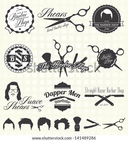 Vector Set: Vintage Barber Shop Labels - stock vector