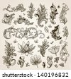Vector set: vintage calligraphic design elements and page decoration for retro design with old ornaments and flowers. Old paper texture. - stock