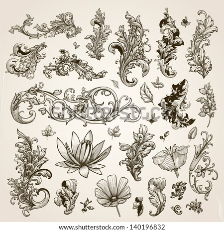 Vector set: vintage calligraphic design elements and page decoration for retro design with old ornaments and flowers. Old paper texture. - stock vector