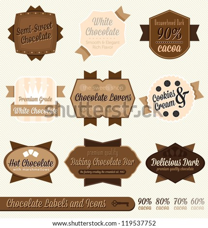 Vector Set: Vintage Chocolate Labels and Icons - stock vector