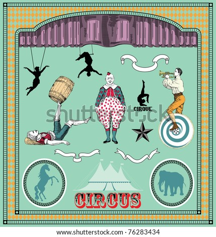 Vector set: vintage circus elements - stock vector