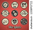 Vector Set: Vintage Dice and Craps Labels - stock photo