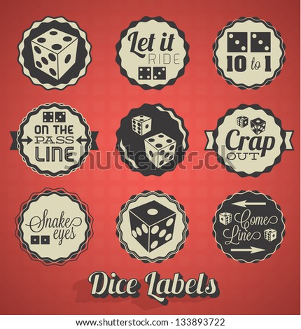 Vector Set: Vintage Dice and Craps Labels - stock vector
