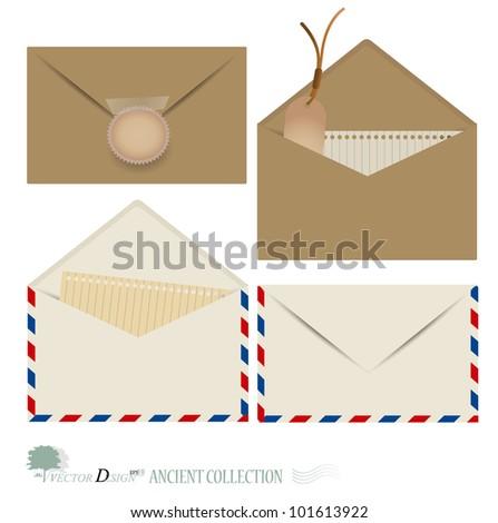 Vector set: Vintage envelope designs. - stock vector