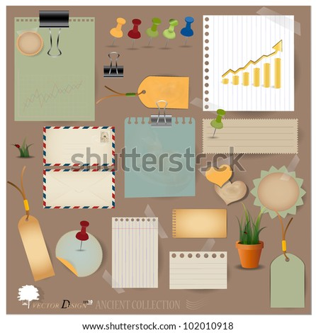 Vector set: Vintage envelope, stamp, card, paper clip, office pins and blank paper designs.