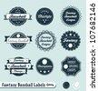 Vector Set: Vintage Fantasy Baseball Champs Labels - stock vector
