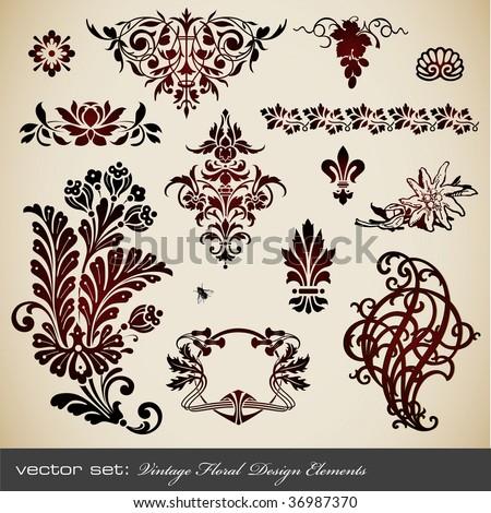 vector set: vintage floral design elements - stock vector