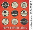 Vector Set: Vintage Happy Birthday Labels and Icons - stock vector