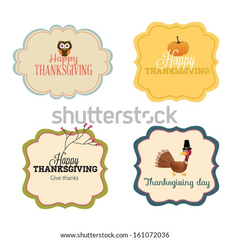 Vector Set: Vintage happy Thanksgiving Day Banners - stock vector