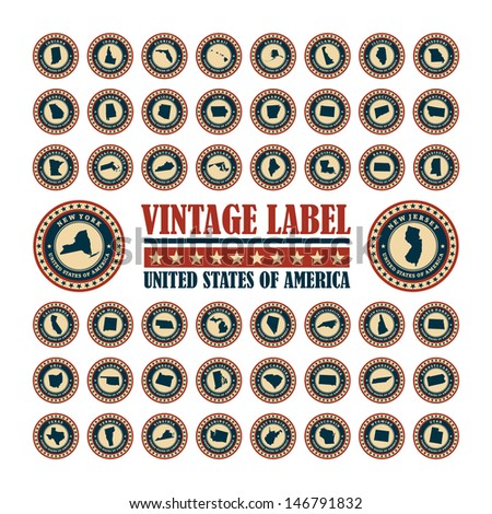 Vector set vintage label with map of states USA - stock vector