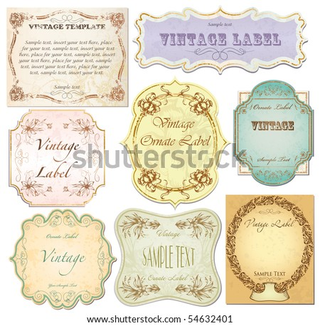 vector set vintage labels 2 - stock vector
