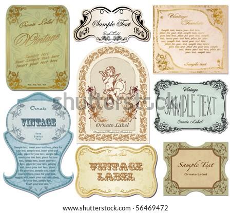 vector set vintage labels 4 - stock vector