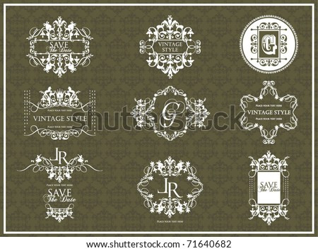 vector set vintage labels 3 - stock vector