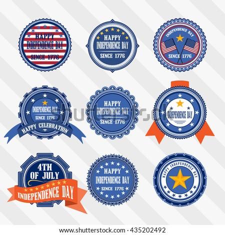 Vector set vintage labels of Independence day.Vector labels of 4th of July Independence day. - stock vector
