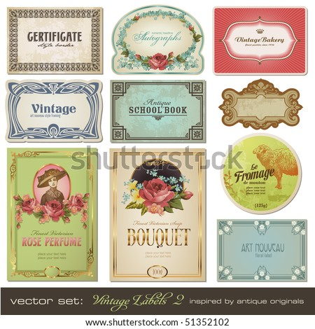 vector set: vintage labels set 2 - inspired by antique originals - stock vector
