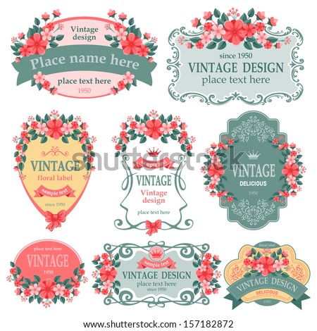 Vector set. Vintage labels with flowers. - stock vector