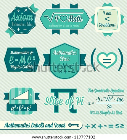 Vector Set: Vintage Mathematics Class Labels and Icons - stock vector