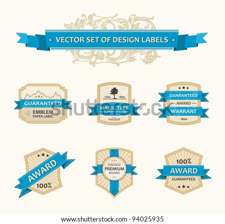 Vector set vintage ornate decor elements. ornaments ribbon blue labels illustration - stock vector