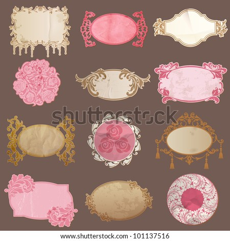 Vector Set: Vintage Paper Frame collection - various tags for your design or scrapbook - stock vector