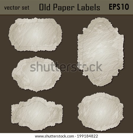 Vector SET : Vintage Paper textured Labels/ Stickers, Useful elements for your layout design. Premium Quality, Genuine and Satisfaction, Easy to Edit - stock vector