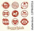 Vector Set: Vintage Pet Doggy Labels and Stickers - stock vector