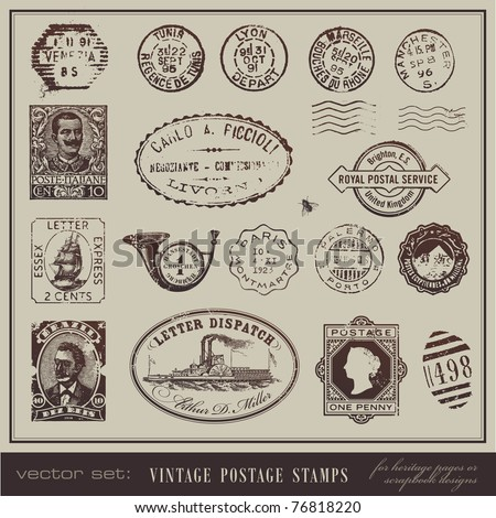 vector set: vintage postage stamps - large collection of grunge antique stamps from different countries - stock vector