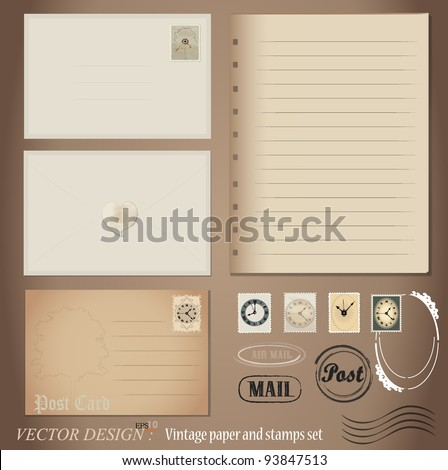 Vector set: Vintage postcard designs and blank paper. - stock vector