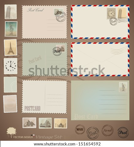 Vector set: Vintage postcard designs, envelopes and stamps. - stock vector