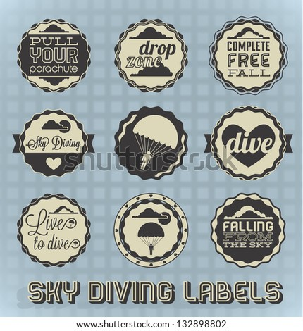 Vector Set: Vintage Skydiving Labels and Icons - stock vector