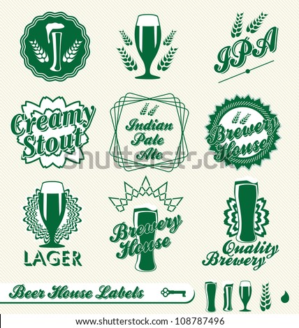 Vector Set: Vintage Style Beer Labels - stock vector