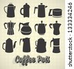 Vector Set: Vintage Style Coffee Pot Silhouette Icons - stock vector