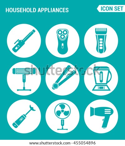 Vector set web icons. Household Appliances hair dryers, curling irons, electric shavers, shaving machine, heater, blender, food processor, fan. Design signs, symbols a turquoise background