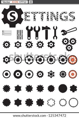 Vector set web icons. settings cogwheel and gears - stock vector