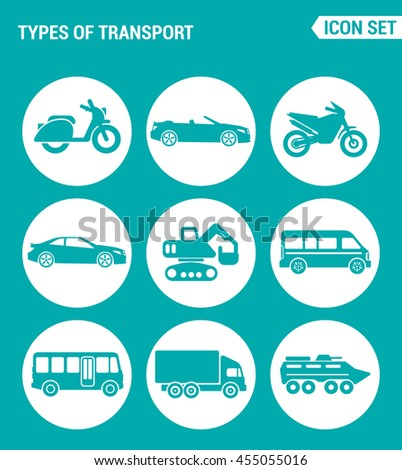 Vector set web icons. Types of transport scooter, convertible, motorcycle, car, tractor, backhoe, bus, truck, tank. Design of signs, symbols on a turquoise background - stock vector