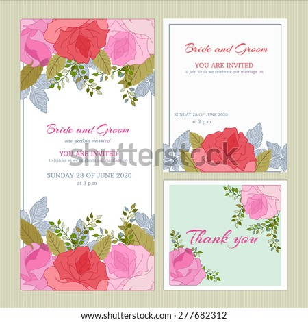 Vector set wedding invitation cards congratulations gratitude set wedding invitation cards congratulations and gratitude pink rose with leaves on stopboris Images