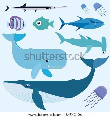 Vector set which represent various sea animals. Abstract decorative cute illustration. Graphic design elements for print and web - stock vector