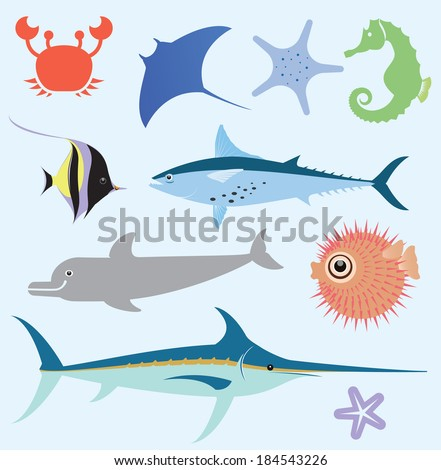 Vector set which represent various sea animals. Abstract decorative cute illustration. Graphic design elements for print and web. - stock vector
