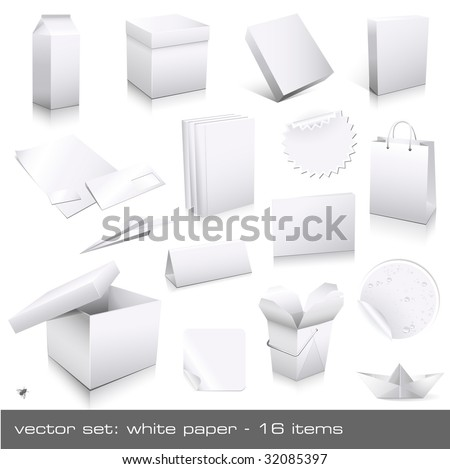 vector set: white paper - packaging and ci-dummies to place your design on, 16 pieces - stock vector