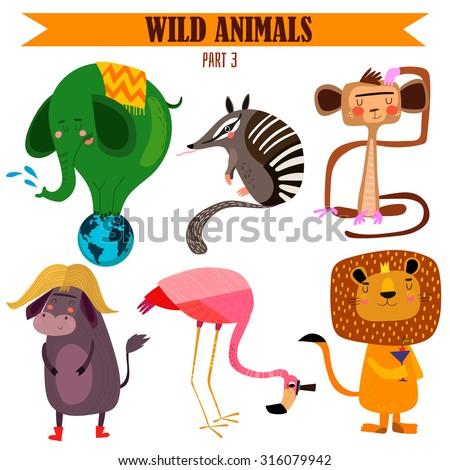Vector set-Wild animals in cartoon style. Part 3: Elephant, numbat, monkey, flamingos, lion, yak.Bright children cartoon collection. - stock vector - stock vector