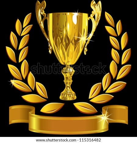 vector set Winning success gold cup, laurel wreath and a shiny ribbon on a black background - stock vector