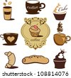 Vector set with bakery icons - stock vector